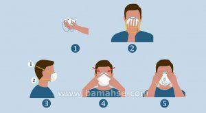 مراحل زدن ماسک N95 در بیمارستان و مراکز درمانی
